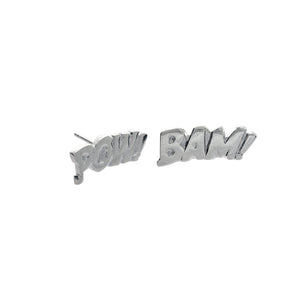 Pow and Bam Letters Earrings in Sterling Silver