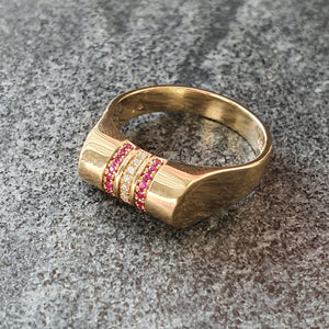 Ruby and Diamond High Top Ring in 14 cart gold. Edge Only