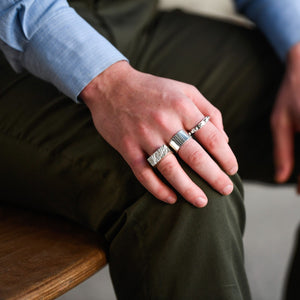 Edge Only Rugged Ring, Gap Ring and Worry Ring in sterling silver