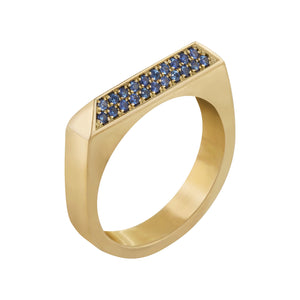 Edge Only Sapphire Rooftop Ring in 14ct gold.