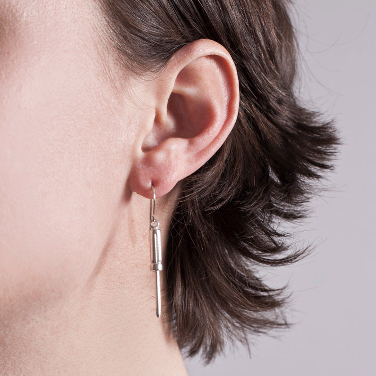 Edge Only Screwdriver Drop Earring in sterling silver