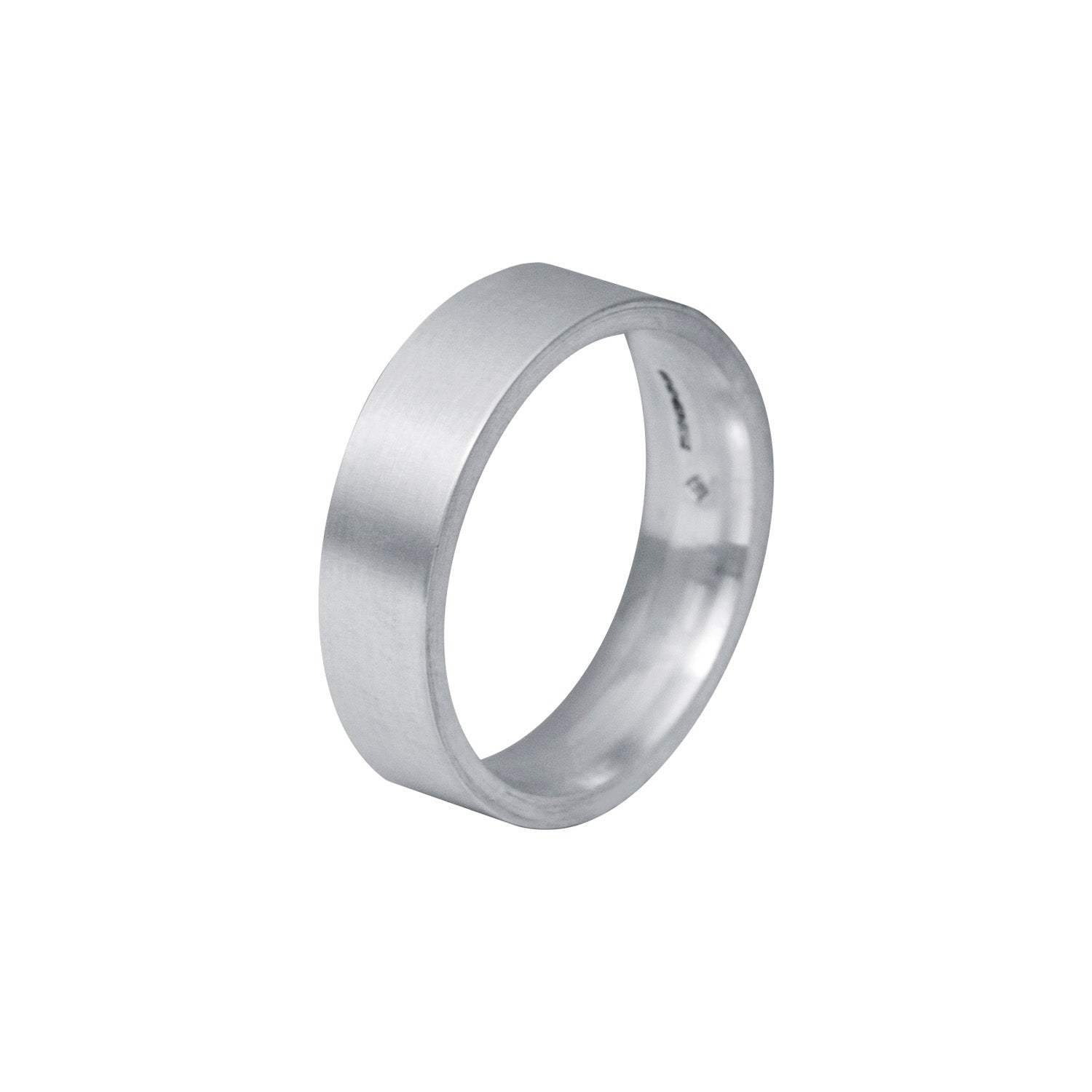 Edge Only Flat Matt 6 ring in sterling silver