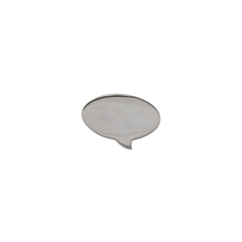 Speech Bubble Lapel Pin - Oval in sterling silver