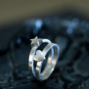 Sterling silver star and heart stacking rings
