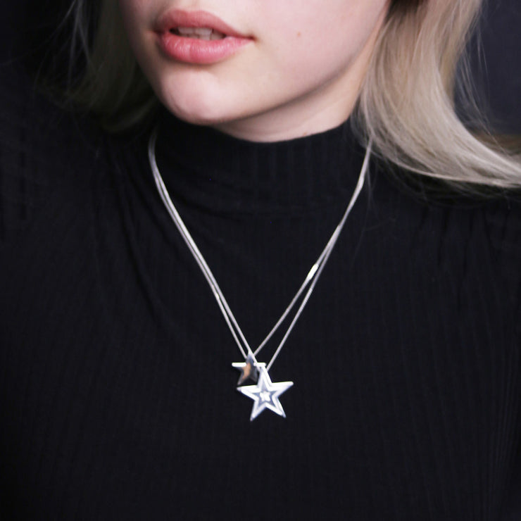 Edge Only Megastar Pendant and Star pendant in sterling silver