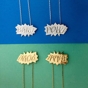 Edge Only BAM and POW Pendants in Sterling Silver and 18ct gold vermeil