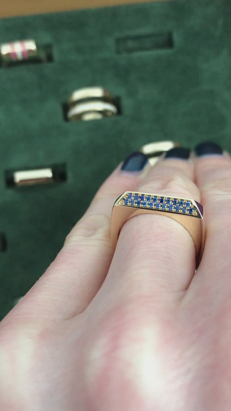 Sapphire Rooftop Ring - 14ct Gold
