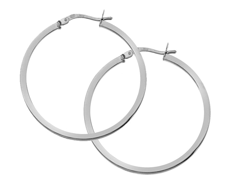 Edge Only Hoops 30mm Square Wire in sterling silver