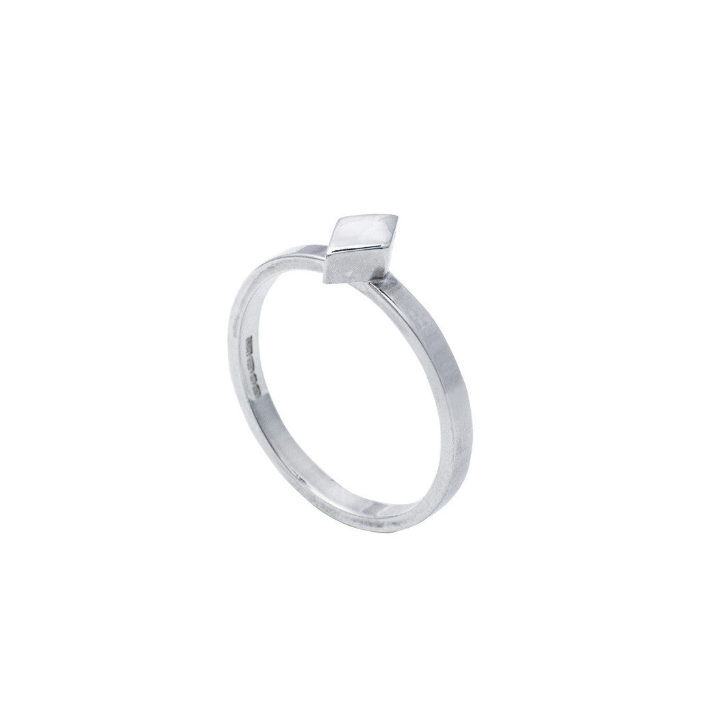 Edge Only Diamond stacking ring in sterling silver