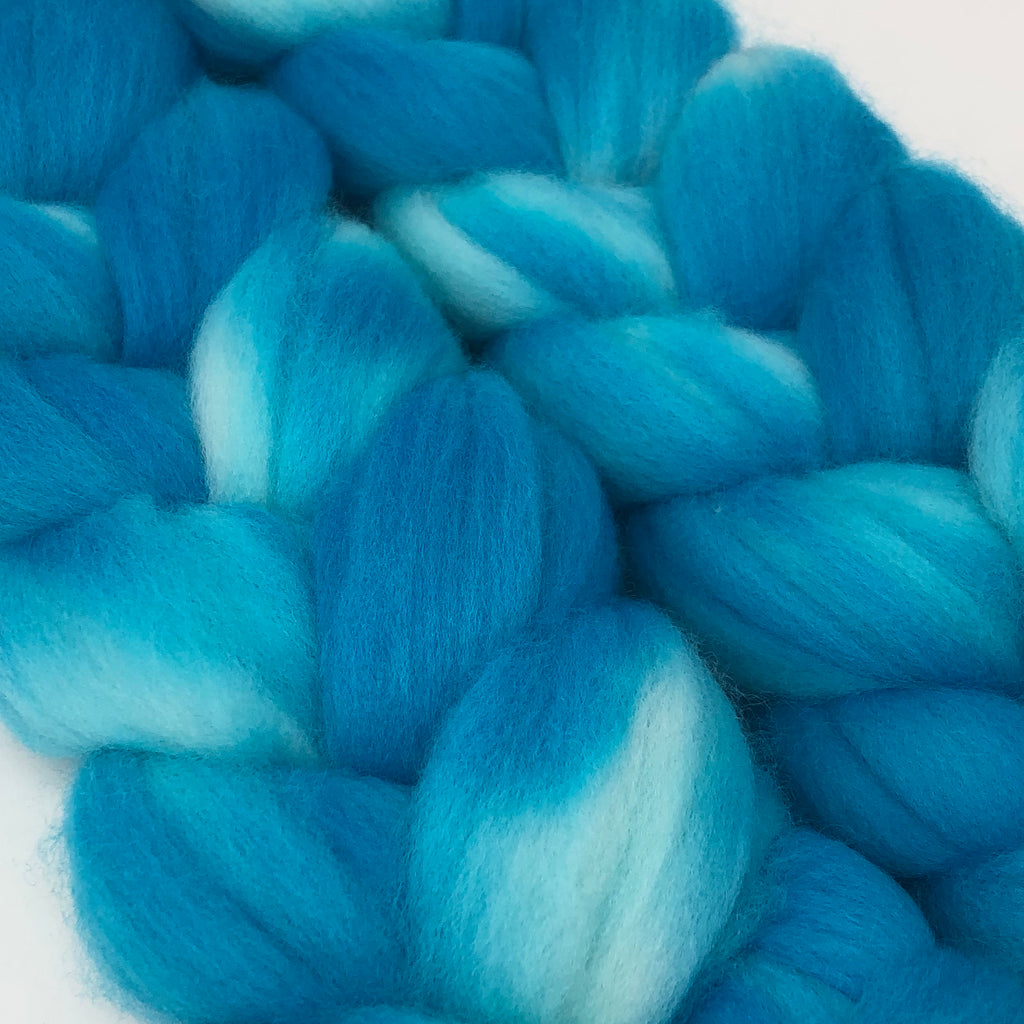 Hand-dyed Merino Combed Top Roving Aquamarine