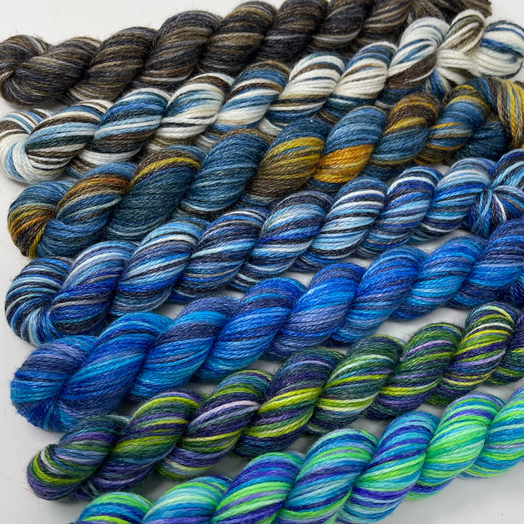 Glammy sock  Mini Skein Set 700 yards Blues