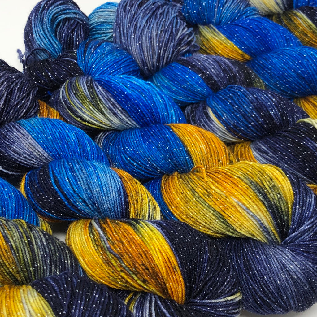 Figment sparkly sock yarn Starry Night