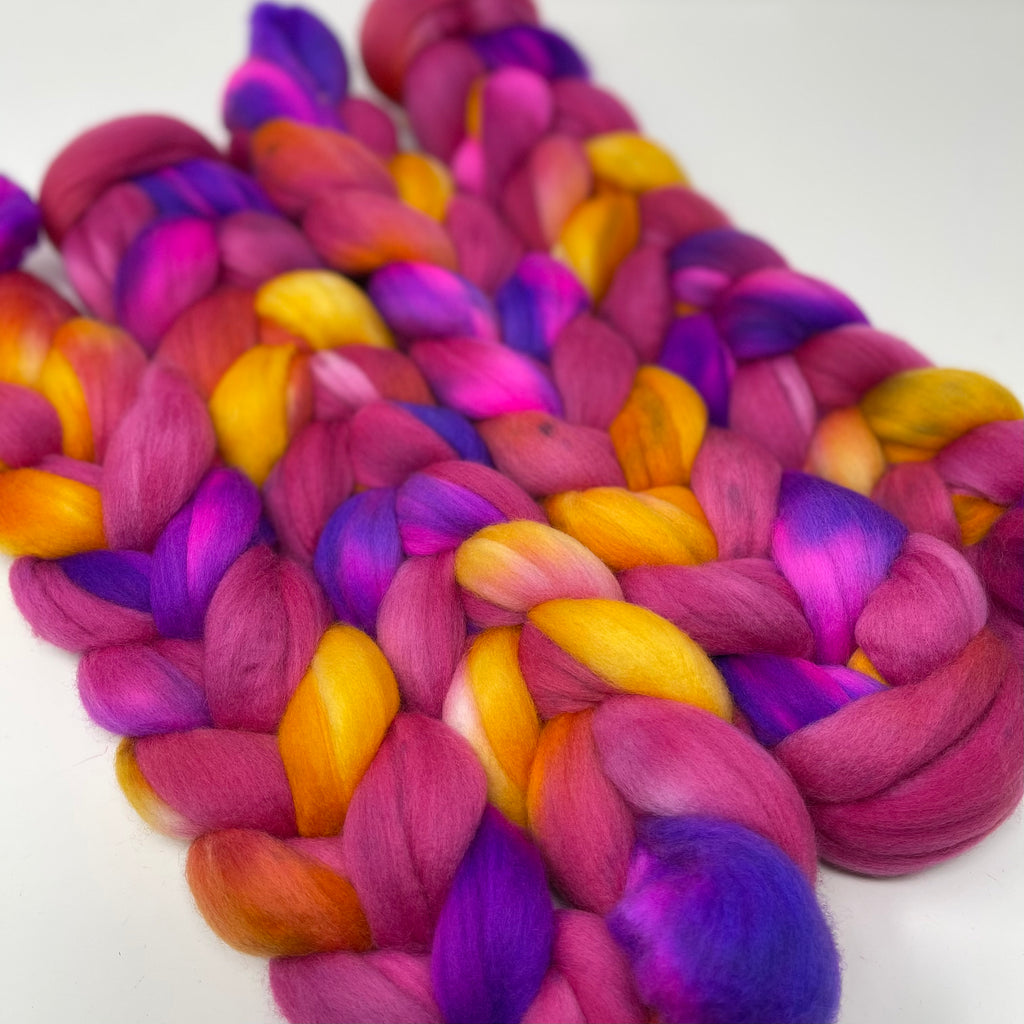 Hand-dyed Merino Combed Top Roving Electric Sunrise