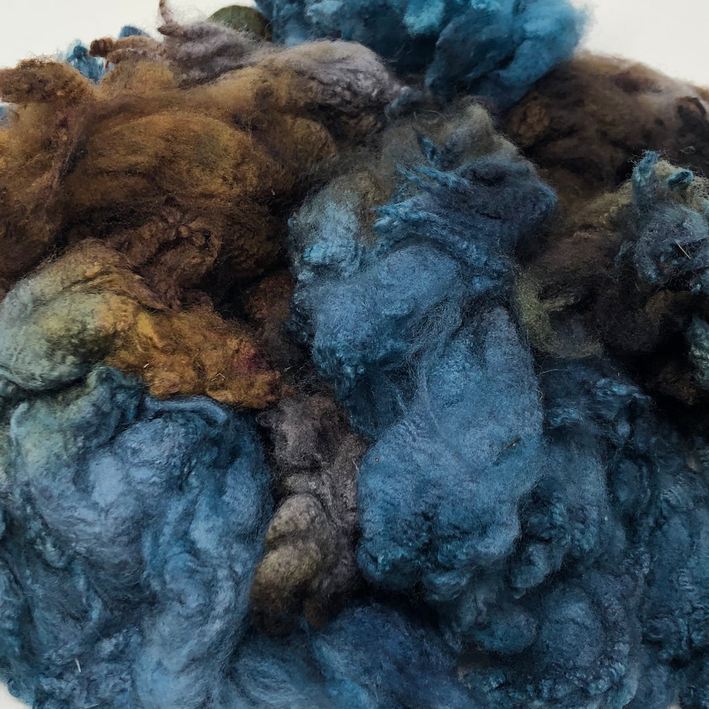Hand Dyed fleece for spinning Tunis Driftwood