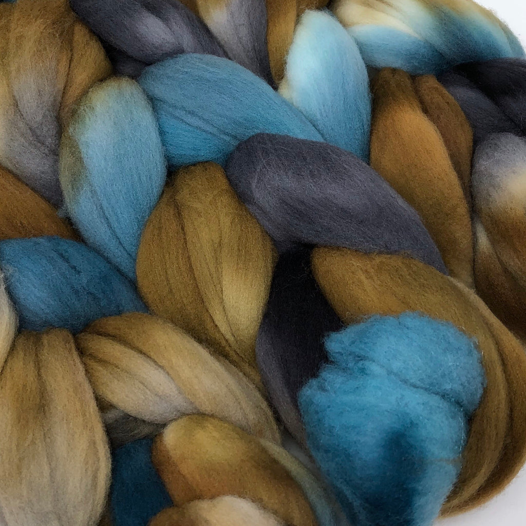 American Targhee wool combed top Driftwood spinning fiber