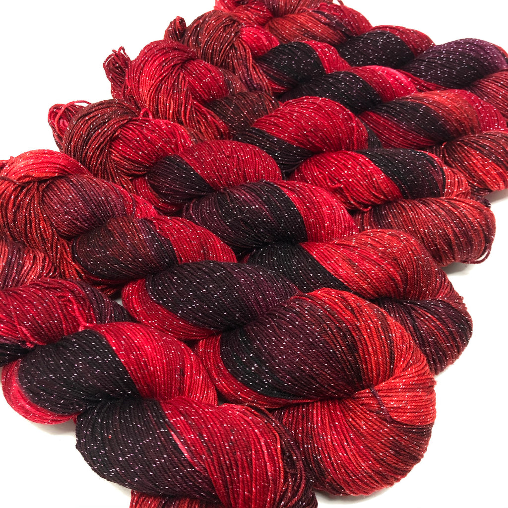 Figment sparkly sock yarn OOAK Reds