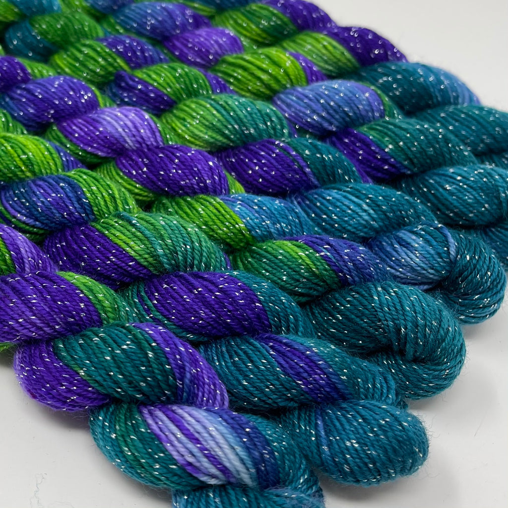 70 yard sock yarn mini skein Sea Dragon