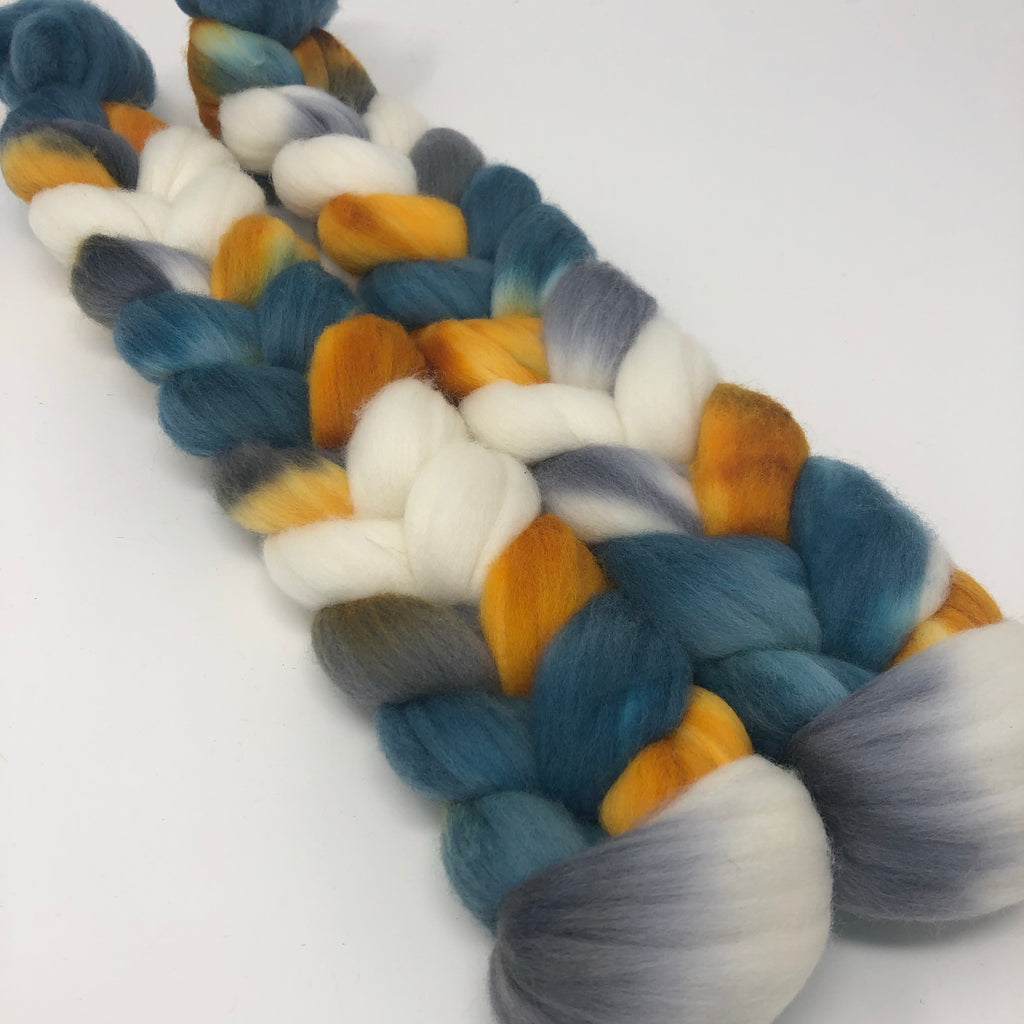 Hand-dyed Merino Combed Top Roving Swans