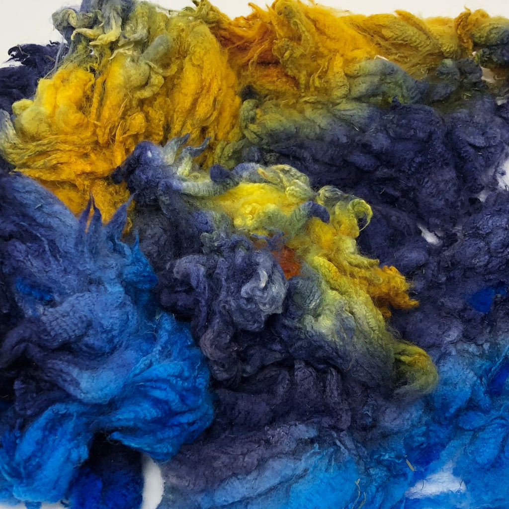 Hand Dyed fleece for spinning Cormo Starry Night