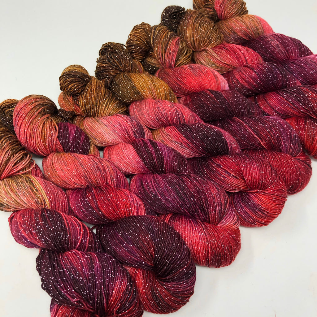 Figment sparkly sock yarn Candy Apple