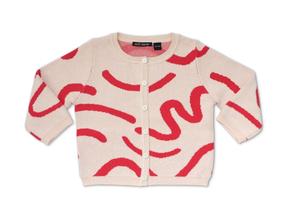 Red Brushstrokes Cardigan