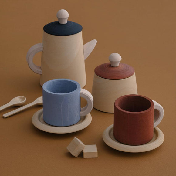 Raduga Grez Tea Set Terra and Blue Wood Toy
