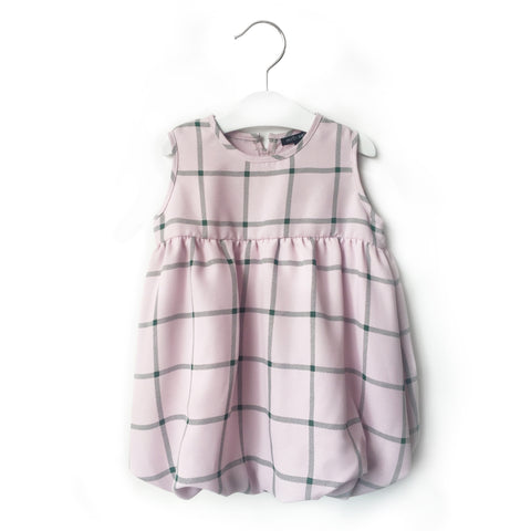 Pink Green Check Bubble Dress