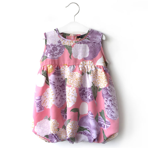 Pink Floral Vase Bubble Dress