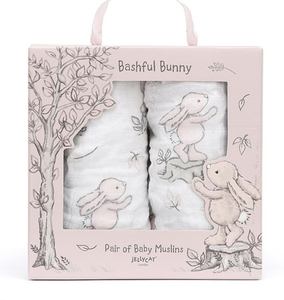 Jellycat Bashful Pink Bunny Pair of Muslins