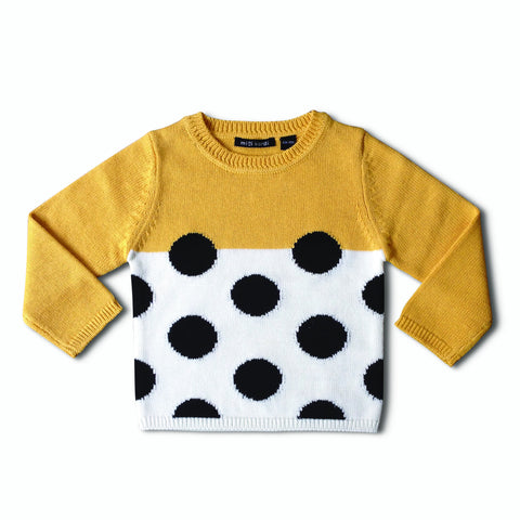 Yellow Black Dots Sweater