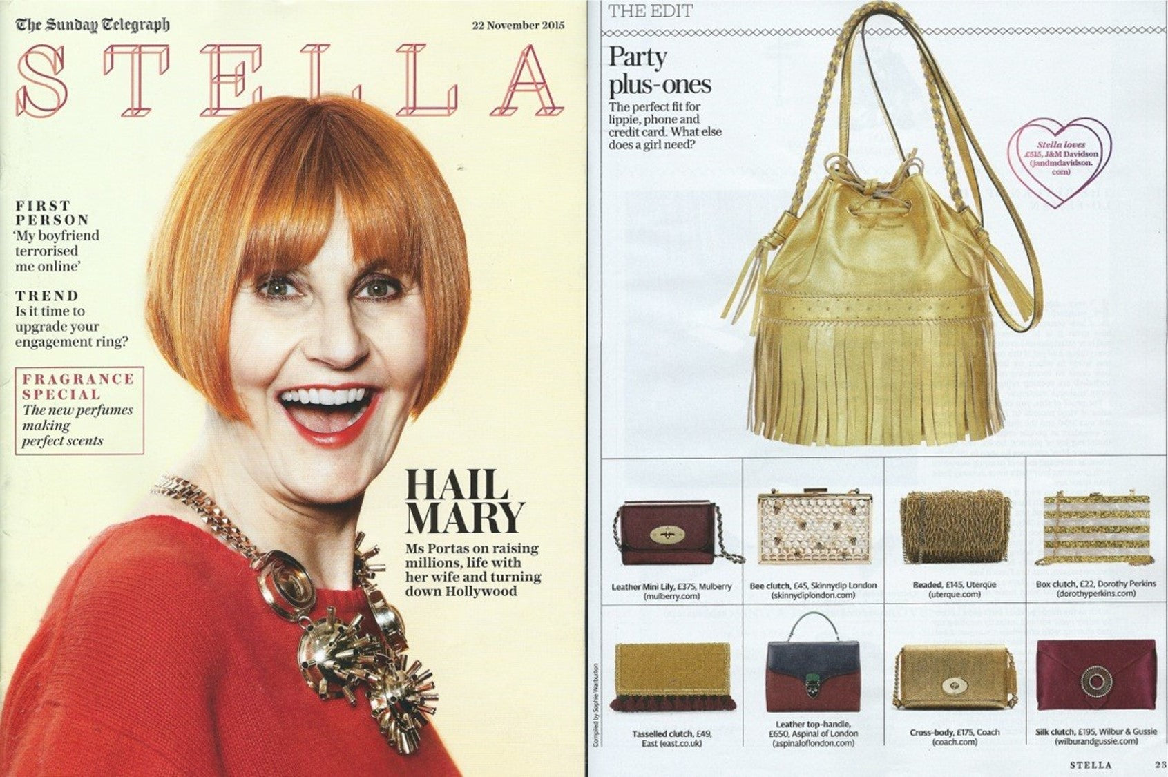 Wilbur & Gussie's 'Edith Burgundy' feature in Stella, Sunday Telegraph.