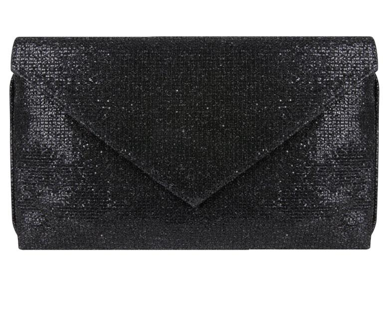 Abby Black Glitter Clutch