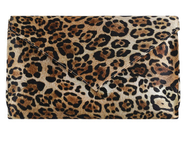 Abby Leopard Silk Clutch