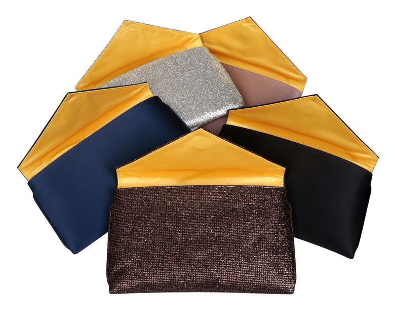Abby Black and Gold Glitter Clutch
