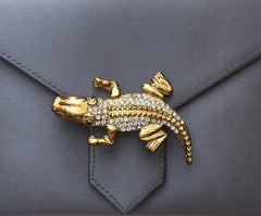 Gold Crystal Alligator Brooch