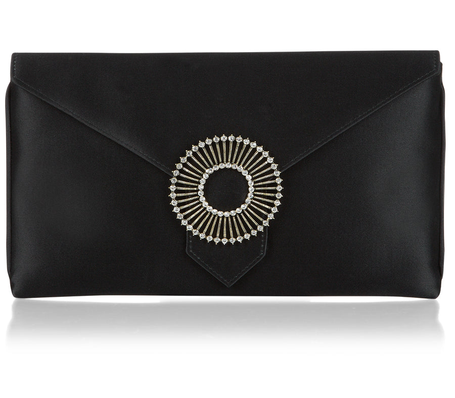 Edith Black Classic Silk Clutch