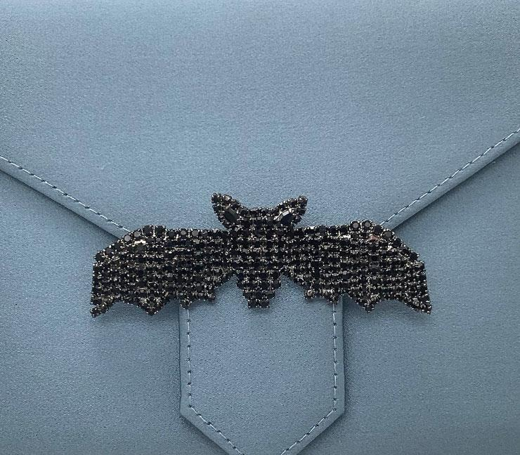 Black Crystal Bat Brooch