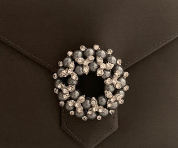 Black Pearl and Crystal Wreath Brooch
