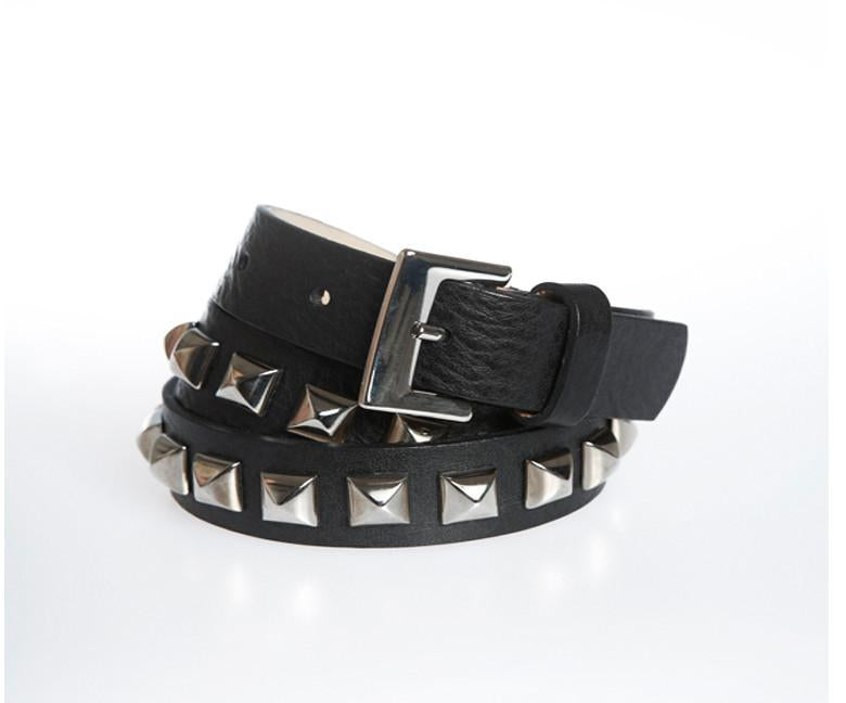 Leather belt - Black and Silver - Wilbur & Gussie - 1