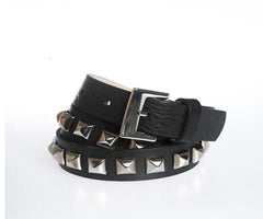 Leather belt - Black and Silver