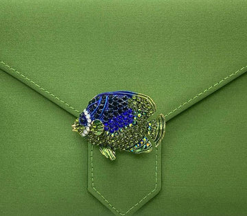 Green and Blue Crystal Tropical Fish Brooch