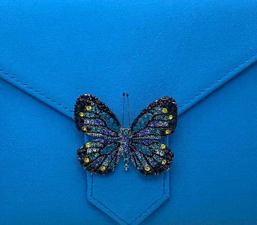 Blue Butterfly Crystal Brooch