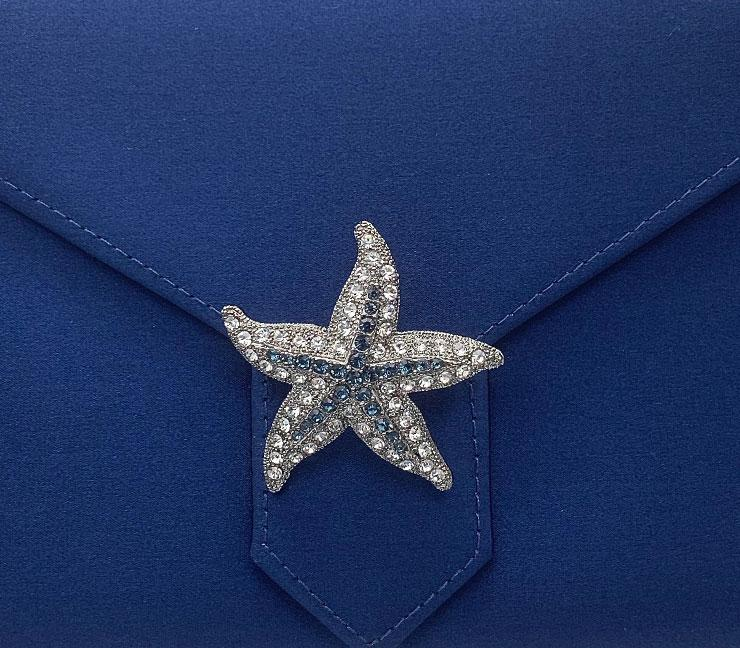 Blue Crystal Starfish Brooch