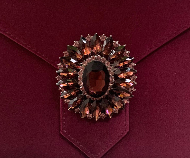 Burgundy Crystal Cluster Brooch