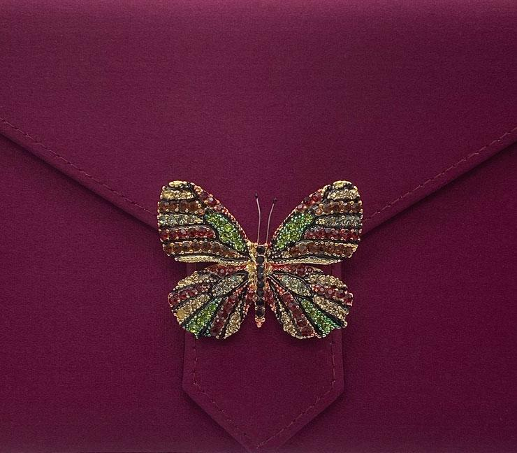 Garnet and Green Butterfly Crystal Brooch