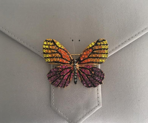 Multi-coloured Butterfly Crystal Brooch