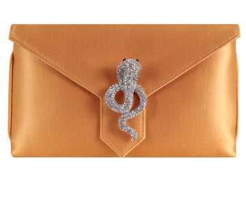 Charlie Bespoke Burnt Gold Silk Clutch