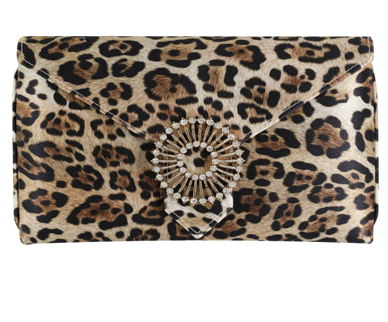 Charlie Leopard Gold Silk Clutch