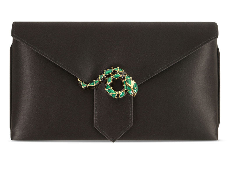 Charlie Black Snake Silk Clutch