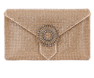 Charlie Gold Crystal Clutch